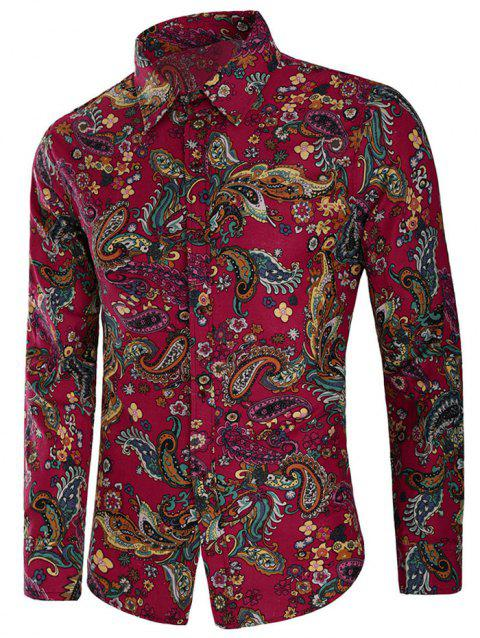 Button Up Paisley Flower Print Shirt - multicolor XL