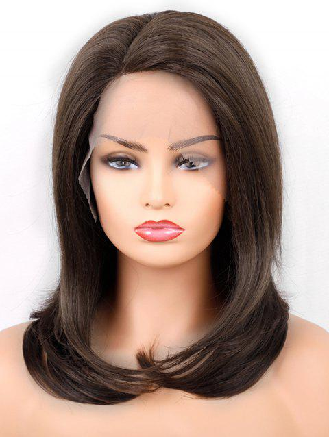 Side Parting Medium Straight Lace Front Synthetic Wig - DEEP BROWN