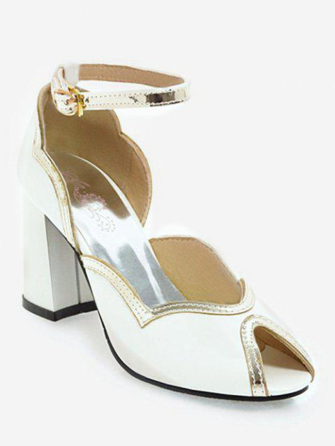 Plus Size Chunky Heel Ankle Strap Chic Sandals - WHITE 39