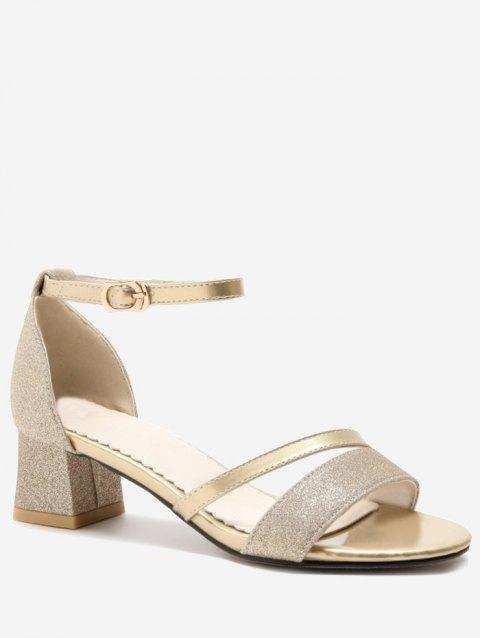 Plus Size Chunky Heel Glitters Chic Prom Sandals - CHAMPAGNE GOLD 42