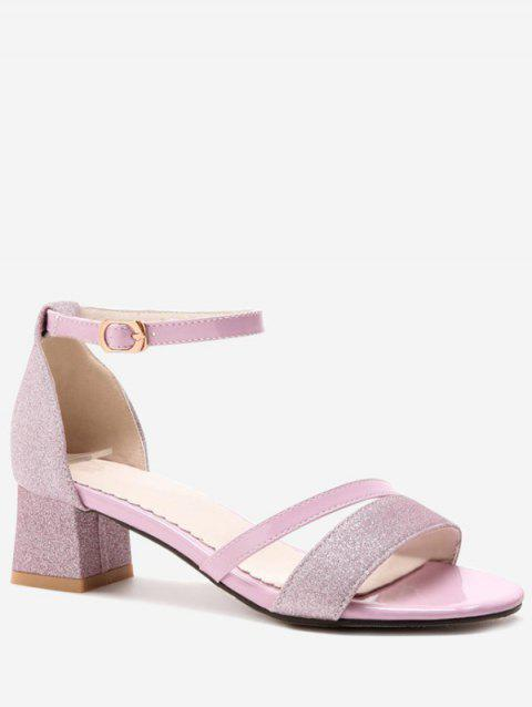 Plus Size Chunky Heel Glitters Chic Prom Sandals - CARNATION PINK 40