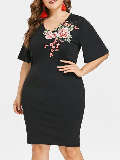 3f4f96e5a3f LIMITED OFFER  2019 Floral Embroidery Plus Size Mini Dress In BLACK ...