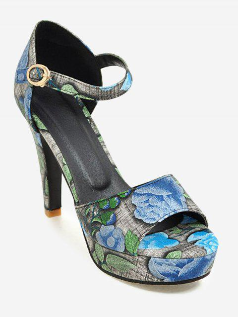 Plus Size Peep Toe Print Ankle Strap Sandals - BLUE 41
