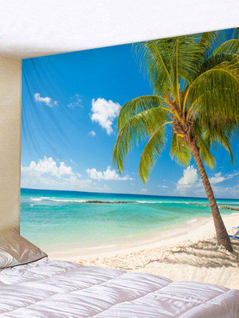 Wall Hanging Art Beach Palm Print Tapestry - SKY BLUE W91 INCH * L71 INCH