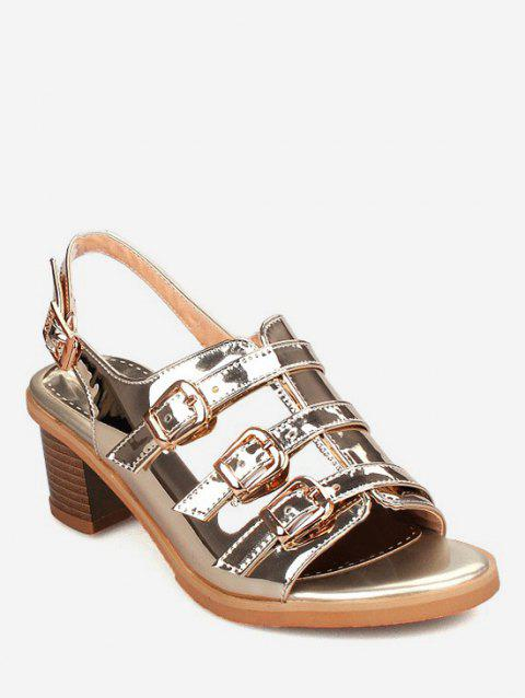 Plus Size Multi Buckles Block Heel Chic Sandals - ORANGE GOLD 41