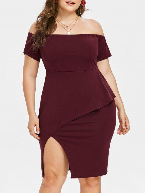 b60d0b92f4d7ef 41% OFF  2019 Plus Size Off Shoulder Peplum Bodycon Dress In RED ...