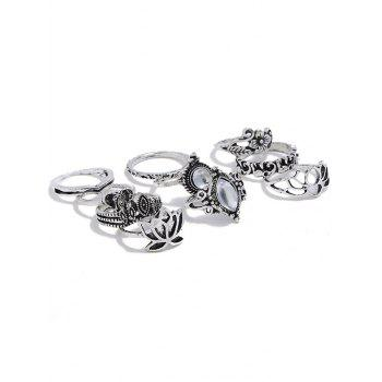 8Pcs Vintage Flower Faux Gem Openwork Rings - SILVER RING SET
