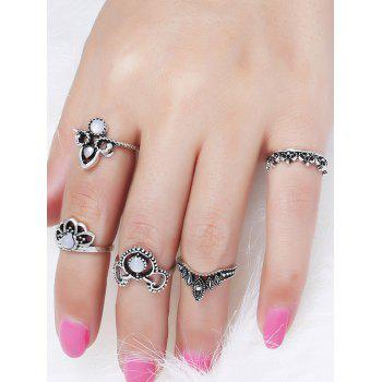 Retro Hollow Out Faux Gem Crown Ring Set - SILVER RING SET
