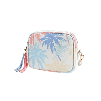 Tassels Tropical Leaves Print Square Crossbody Bag - BLUE
