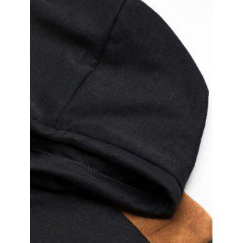 Patch Design Short Sleeve Hooded T-shirt - BLACK M