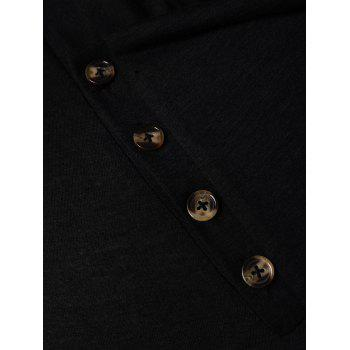 Solid Color Button Embellished T-shirt - BLACK M
