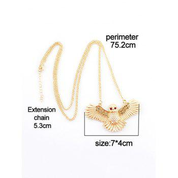 Flying Owl Pattern Chain Pendant Necklace - GOLD