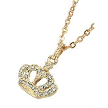 Rhinestone Crown Design Pendant Chain Necklace - GOLD