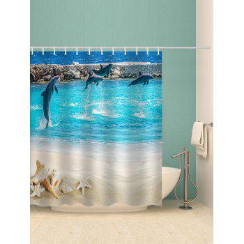 Beach Dolphin Print Waterproof Shower Curtain - multicolor W65 INCH * L71 INCH