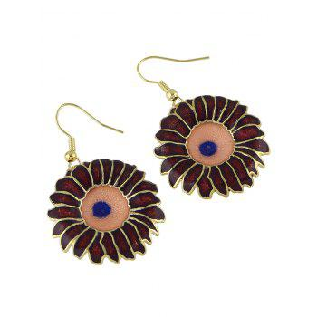 Enamel Round Pendant Earrings - RED WINE