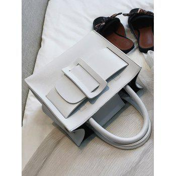 Contrasting Color Buckled Daily Working Handbag with Strap - WHITE