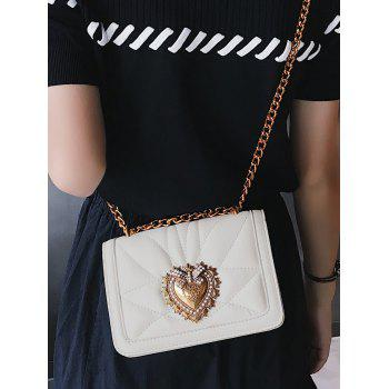 PU Leather Quilted Metallic Flapped Sling Bag - WHITE