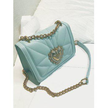 PU Leather Quilted Metallic Flapped Sling Bag - GREEN