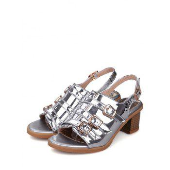 Plus Size Multi Buckles Block Heel Chic Sandals - SILVER 38