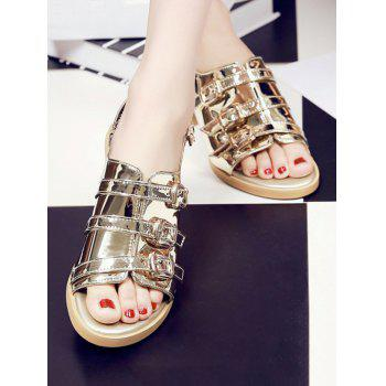 Plus Size Multi Buckles Block Heel Chic Sandals - ORANGE GOLD 43