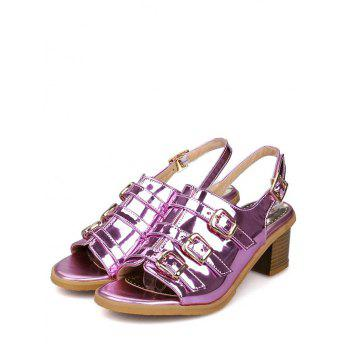 Plus Size Multi Buckles Block Heel Chic Sandals - MEDIUM VIOLET RED 37