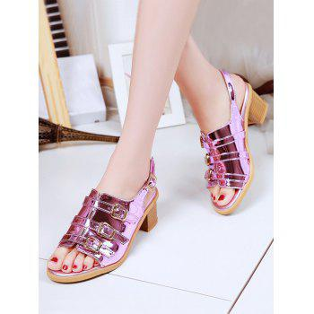 Plus Size Multi Buckles Block Heel Chic Sandals - MEDIUM VIOLET RED 40