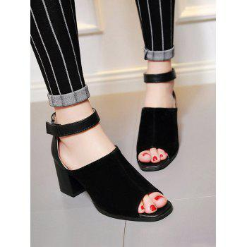Plus Size Low Heel Ankle Strap Daily Sandals - BLACK 40