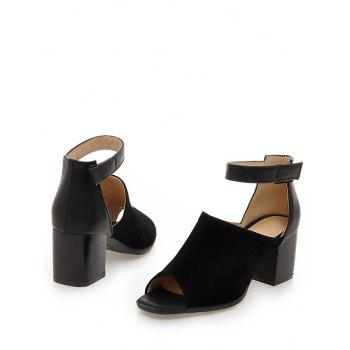 Plus Size Low Heel Ankle Strap Daily Sandals - BLACK 38