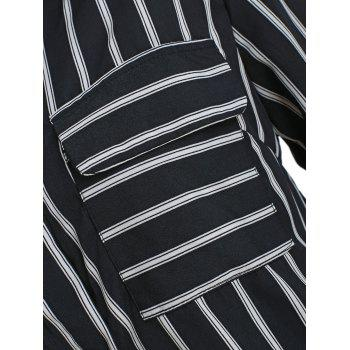 Striped Button Up Shirt - BLACK S