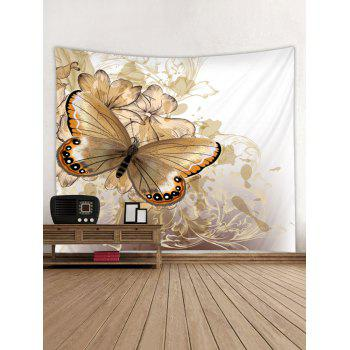 Vintage Butterfly and Flowers Print Tapestry Wall Art Decor - MILK WHITE W91 INCH * L71 INCH