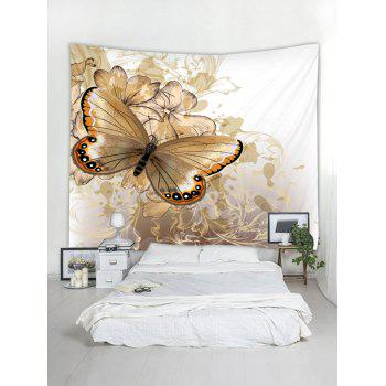 Vintage Butterfly and Flowers Print Tapestry Wall Art Decor - MILK WHITE W79 INCH * L59 INCH