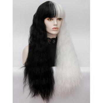 Long Full Bang Two Tone Corn Hot Curly Party Synthetic Wig - multicolor
