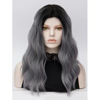 Middle Part Long Natural Wavy Colormix Party Synthetic Wig - GRAY