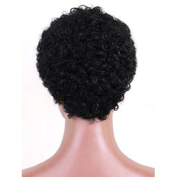 Short Capless Pixie Afro Curly Human Hair Wig - BLACK