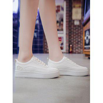 Leisure Sequined Heart Pattern Lace Up Sneakers - WHITE 39
