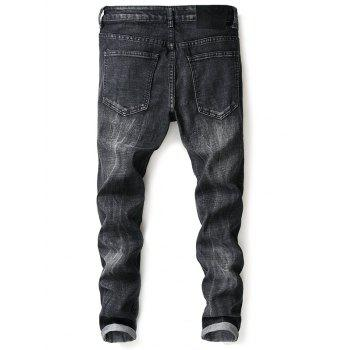 Tapered Vintage Stitching Straight Jeans - BLACK 32