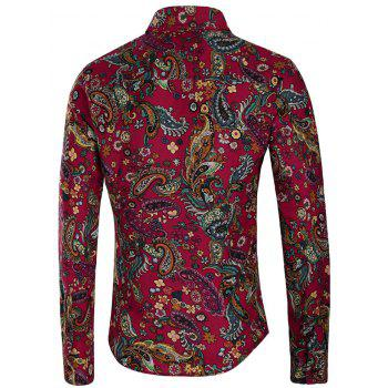 Button Up Paisley Flower Print Shirt - multicolor 3XL