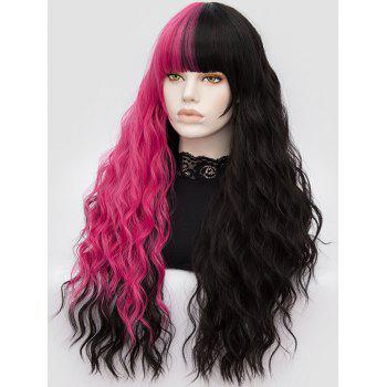 Long Full Bang Color Block Water Wave Party Synthetic Wig - multicolor