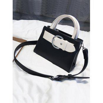 Minimalist Color Block Buckled Retro Handbag - BLACK