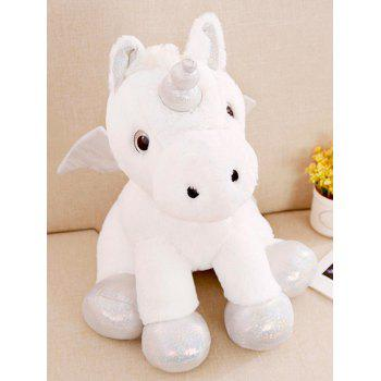 Unicorn Shaped Plush Toy with Blanket - WHITE