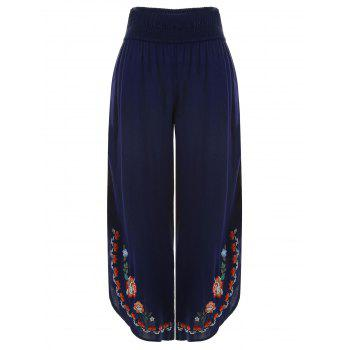 Floral Embroidery Wide Leg Pants - MIDNIGHT BLUE L