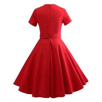 Sweetheart Neck Vintage Dress with Belt - RED 2XL