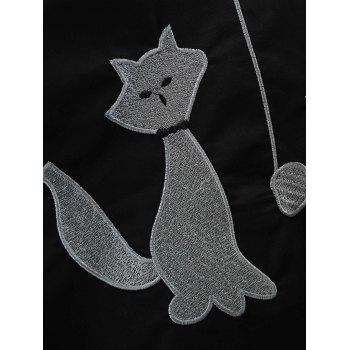Round Neck Cat Embroidery Swing Dress - BLACK L
