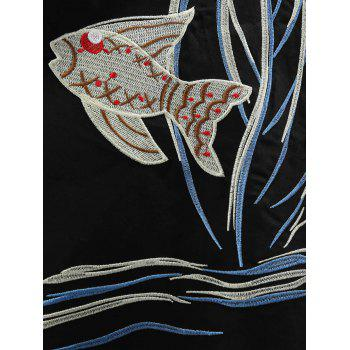 Round Neck Fish Embroidery Swing Dress - BLACK S