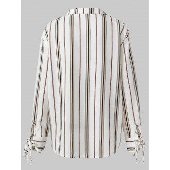 Striped Surplice Neck Shirt - WHITE XL