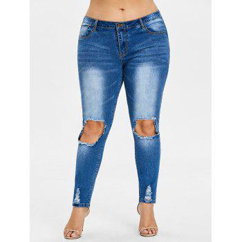 Plus Size Frayed Destroyed Skinny Jeans - JEANS BLUE L
