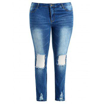 Plus Size Frayed Destroyed Skinny Jeans - JEANS BLUE 2X