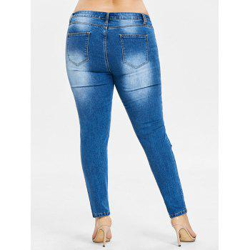 Plus Size Frayed Destroyed Skinny Jeans - JEANS BLUE 3X