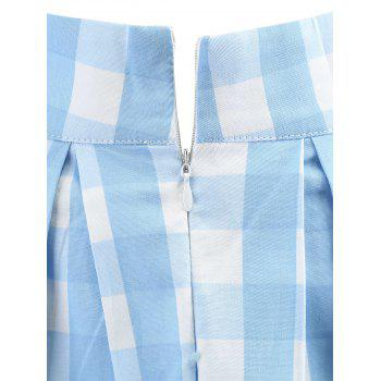 High Waist Plaid A Line Skirt - SKY BLUE S