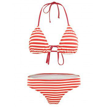 Padded Striped Halter Neck Bikini Set - RED S